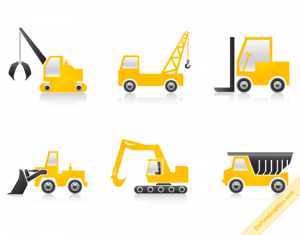 Set of 6 Construction Machines Icons