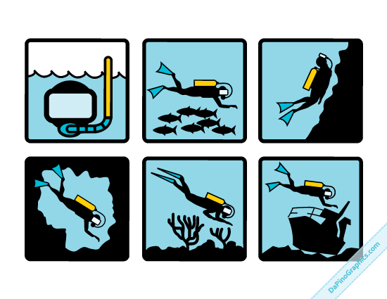 Set of 6 Vector Diving Symbols