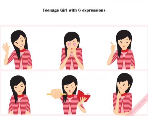 Teenage Girl Vector Icons
