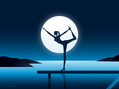 Yoga Girl by Night Wallpaper