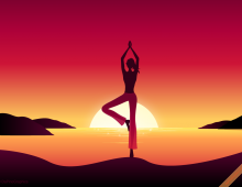 Yoga Girl by Sunset Wallpaper
