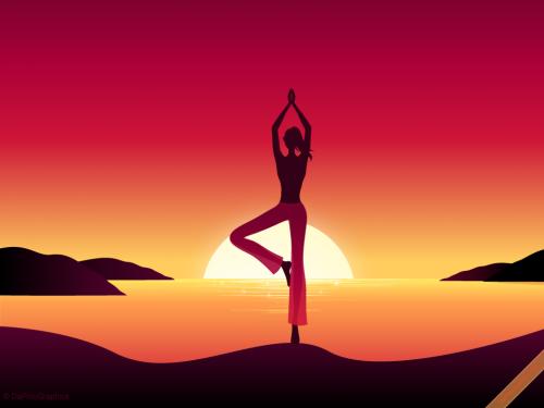 Yoga Girl by Sunset Wallpaper