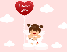 Cute Cupid Girl On Heart eCard