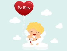 Cute Cupid On Heart Wallpaper
