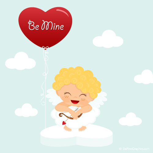 Cute Cupid On Heart in the Clouds