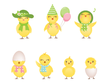 Cute Chickens Vector Icons