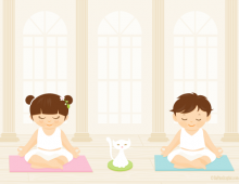 Children exercising yoga wallpaper